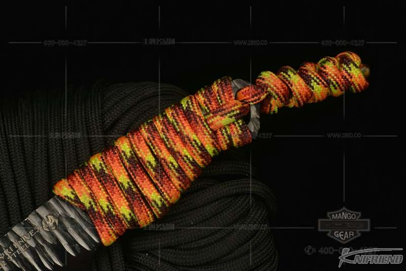 Messori Knife 意大利兰博基尼设计师 迈索瑞 #14号 迷彩伞绳柄 一体式龙骨 DLC镜面镀.jpg